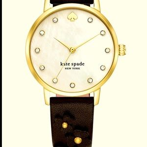 RARE Kate Spade Blossom Leather Watch W/Crystals